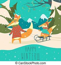 rigolote, renards, sledding