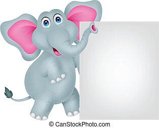 rigolote, s, vide, dessin animé, éléphant
