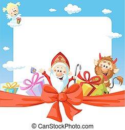 rigolote, saint, cadre, -, illustration, vecteur, fond, nicolas
