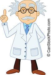 rigolote, scientifique, caractère, dessin animé