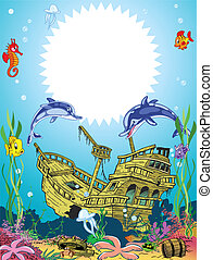 rigolote, sous-marin, lif, cadre, mer