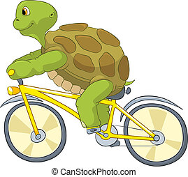 rigolote, turtle., biker.