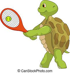 rigolote, turtle., player., tennis