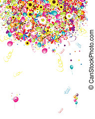 rigolote, vacances, conception, fond, ballons, ton, heureux