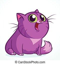 rigolote, vecteur, dessin animé, illustration, cat.