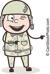 rigolote, vilain, armée, illustration, vecteur, officier, dessin animé