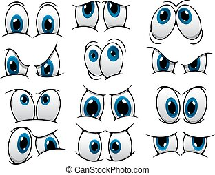 rigolote, yeux, ensemble, dessin animé