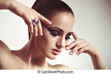 ring., femme, mode, bijouterie