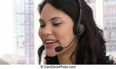 rire, client, représenter, service
