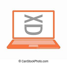 rire, isolé, figure, ordinateur portable, texte