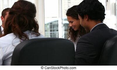 rire, réunion, equipe affaires