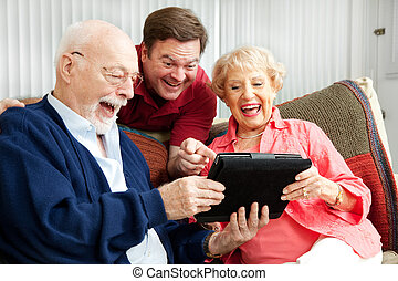 rire, tablette, usages, famille, pc