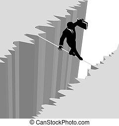 risque, business, danger, sur, goutte, corde raide, promenades, homme, falaise