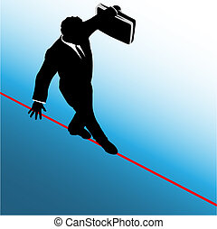 risque, business, danger, symbole, corde raide, promenades, homme