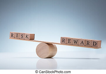 risque, récompense, bascule, bloc bois