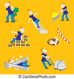 risques, ouvrier construction, accident