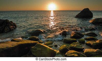rivage, 2, coucher soleil, rocheux, mer