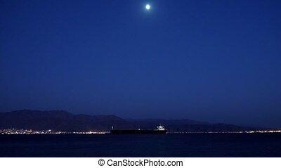 rivage, bateau, mer, lune