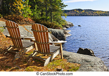 rivage, chaises, lac, adirondack