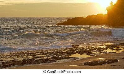 rivage, coucher soleil, rocheux, mer, vagues