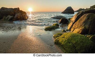 rivage, coucher soleil, rocheux, mer