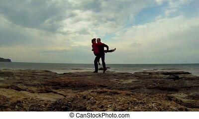 rivage, couple, jeune