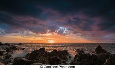 rivage, dramatique, coucher soleil, mer, rocher