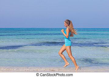 rivage, femme, plage, exercisme