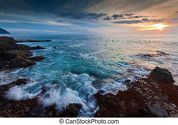 rivage, hawaï, crépuscule