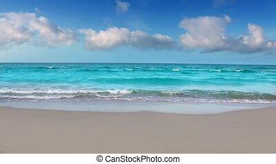 rivage, idyllique, plage, mer turquoise