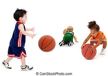 rival, basket-balls, équipes, enfantqui commence à marcher, uniforme