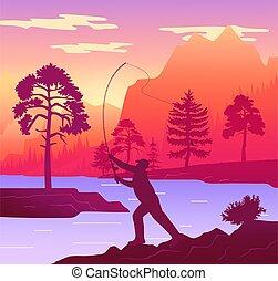 river., canne pêche, pêcheur, forêt, homme, silhouette, côte, debout, rivage