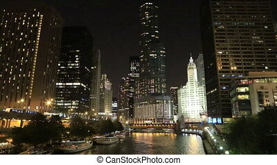 riverwalk, chicago, nuit