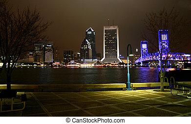 riverwalk, nightscape