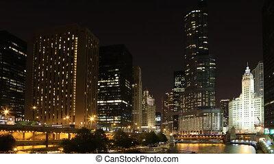 riverwalk, nuit, timelapse, chicago