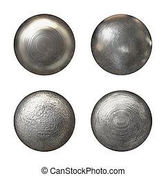 rivet, têtes, collection, acier