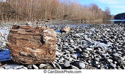 rivière, côtier, paysage, hiver, calme