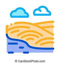 rivière, collines, contour, vecteur, paysage, icône, illustration