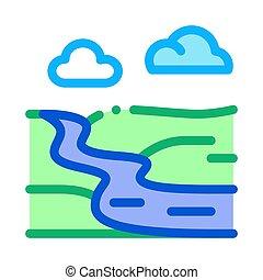 rivière, contour, vecteur, campagne, paysage, icône, illustration