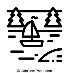 rivière, contour, vecteur, paysage, bateau, icône, illustration