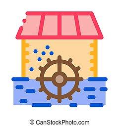 rivière, contour, vecteur, paysage, icône, îlots, illustration