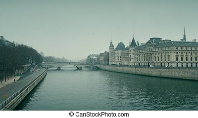 rivière, coup, présent, conciergerie, seine, paris, célèbre, france., endroit, 4k, cours, prison, droit & loi, ancien, moule