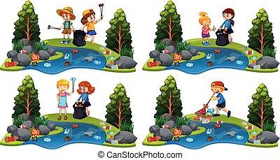 rivière, ensemble, nettoyage, enfants