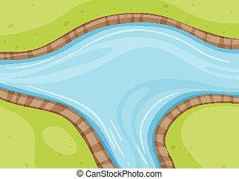 rivière, haut fin, vue, aérien