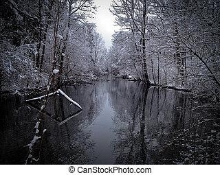 rivière, hiver