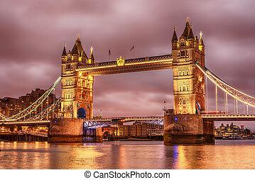 rivière, londres, tour, uni, tamise, kingdom:, pont