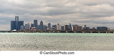 rivière, long, michigan, panoramique, en ville, détroit, horizon ville