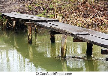 rivière, nature., vieux pont, sur, river.