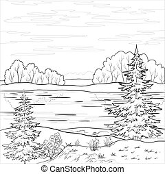 rivière, paysage., forêt, contour