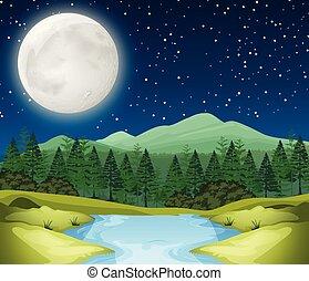 rivière, scène, nuit